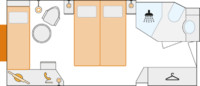 2-Bett-Außenkabine mit Zusatzbett, A 15,5 m²