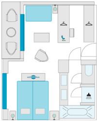 2-Bett-Balkonsuite, F 26 m²